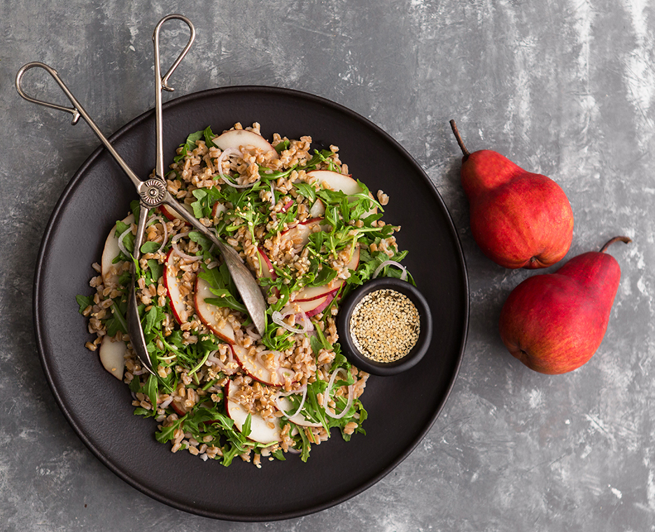 Red pear arugula farro salad ginger-lemon sesame seed dressing
