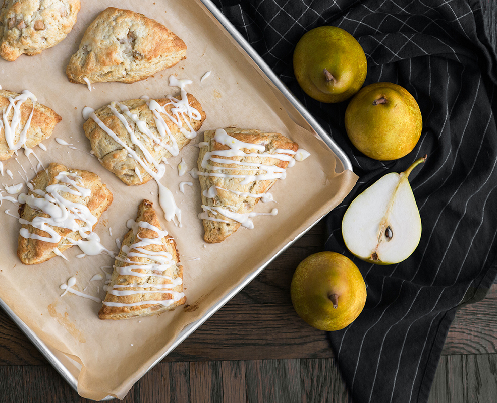 French Butter pear ginger scones glazed recipe