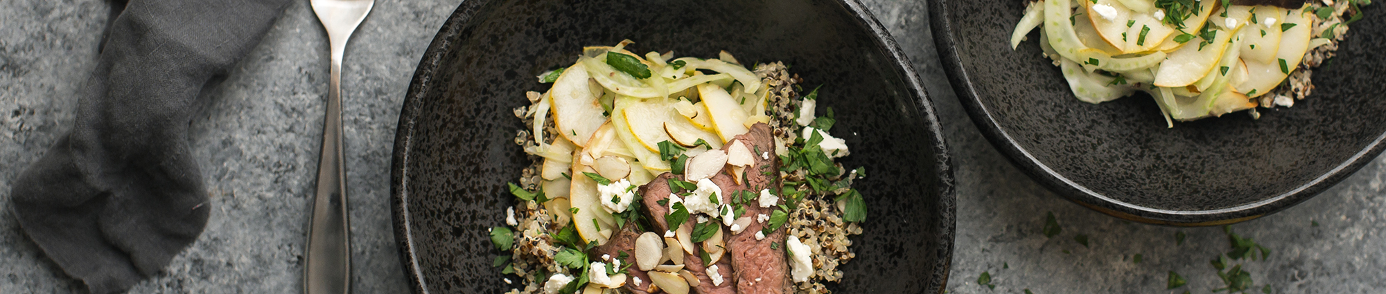 Bartlett pear quinoa steak bowl