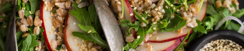 Red pear arugula farro salad ginger-lemon sesame seed dressing
