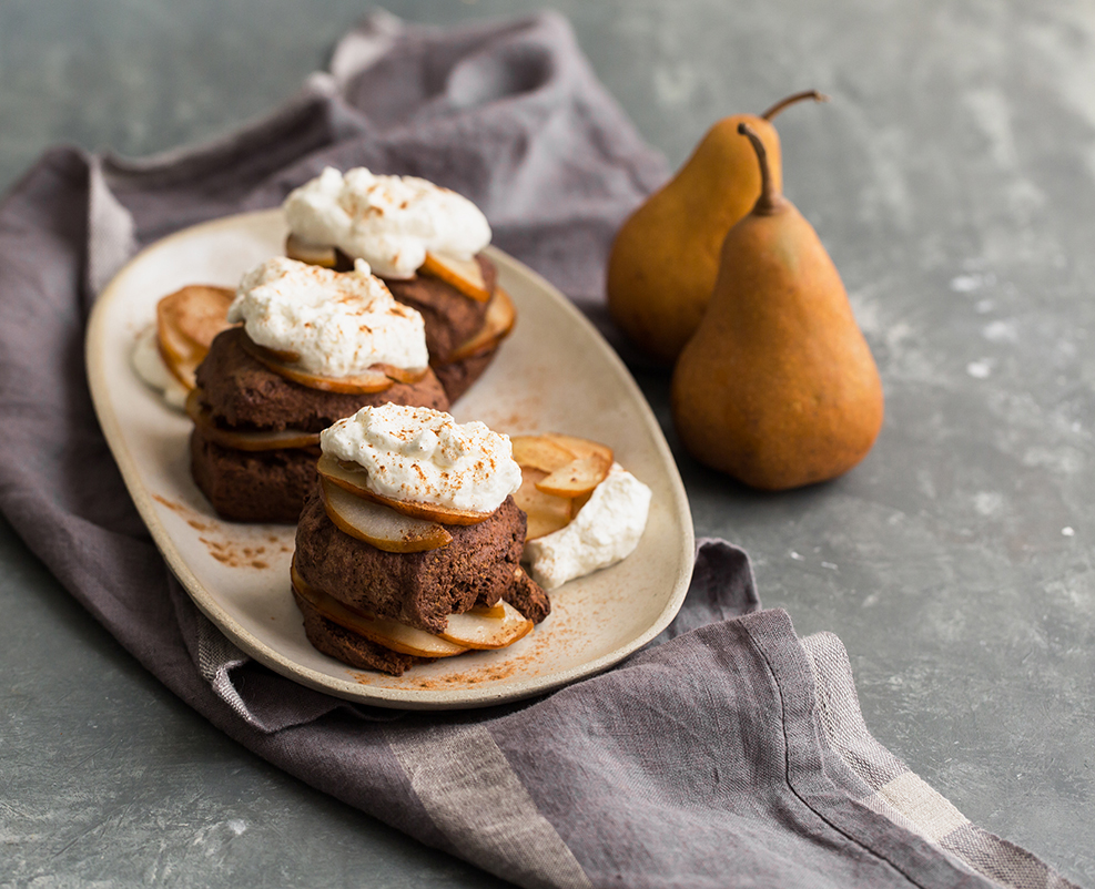 chocolate shortcake Bosc pear whipped cream recipe