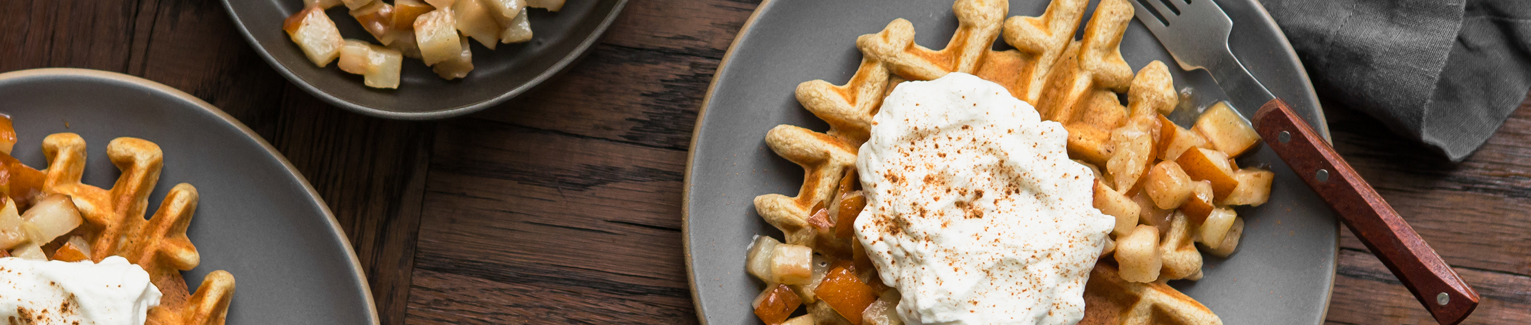 Multigrain Waffles with Cardamom Bosc Pears & Whipped Cream