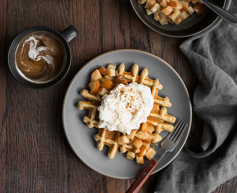 spiced Bosc pear multigrain waffle recipe